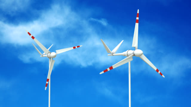 vídeos de stock e filmes b-roll de turbina eólica loopable com alpha matte - matte image technique