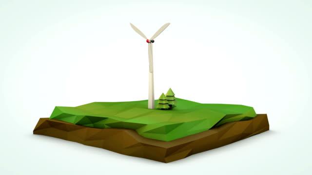 Wind turbine low poly animation