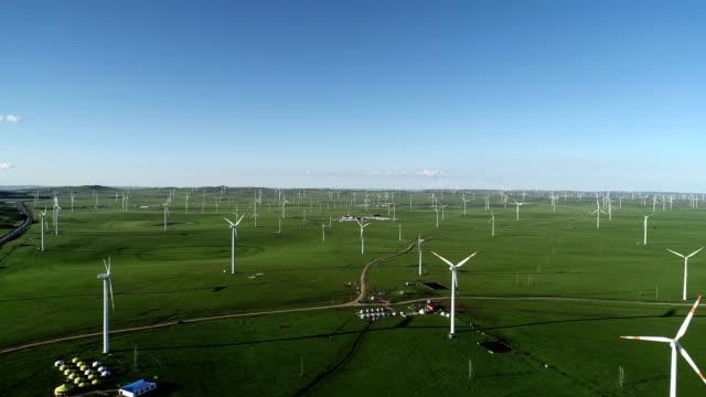 wind turbine on huitengxile grassland - 40 seconds or greater点の映像素材/bロール