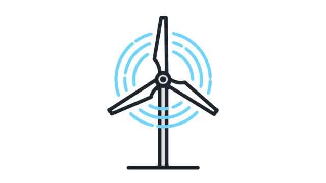 wind turbine power‎ flat line icon animation with alpha - mill stock videos & royalty-free footage