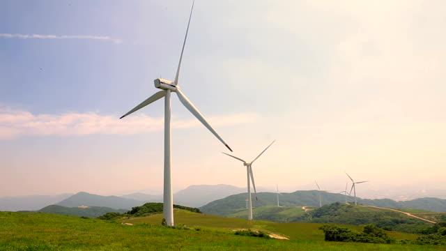 Wind turbine spinning at Seonjaryeong mountain range