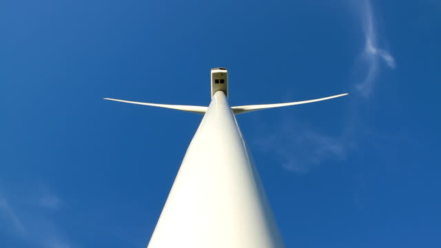 wind turbine straight up back view. - projection stock videos & royalty-free footage