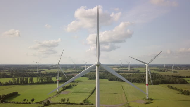 wind turbine turning gently in the wind