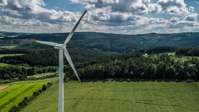 aerial: wind turbine - mill stock videos & royalty-free footage