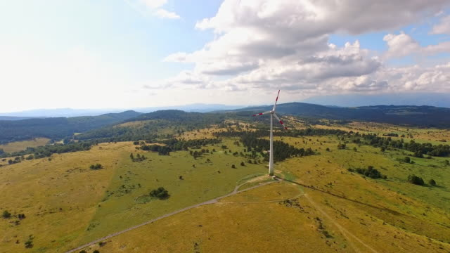 AERIAL Wind turbine with surrounding countryside