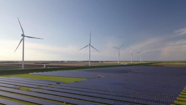 wind turbines and solar plant - turbine stock videos & royalty-free footage