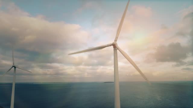 wind turbines at sea - turbine stock videos & royalty-free footage