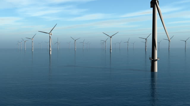 wind turbines at sea (1080p) - wind power stock videos and b-roll footage
