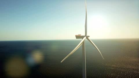 wind turbines at sea - wind turbine stock videos & royalty-free footage