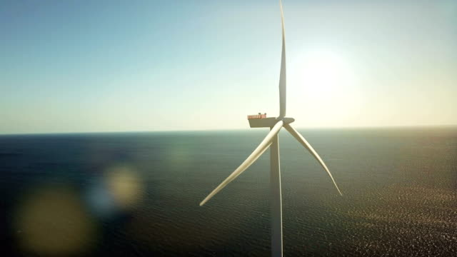 wind turbines at sea - copenhagen video stock e b–roll