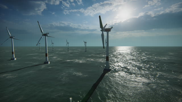 wind turbines at sea / wind farm - ecosystem stock videos & royalty-free footage