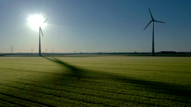 wind turbines at sunrise - ノルトラインヴェストファーレン州点の映像素材/bロール