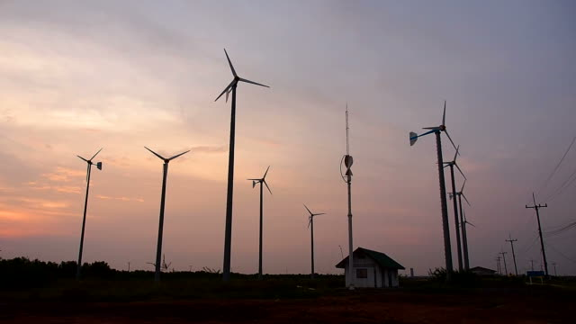 wind turbines at sunrise - medium group of objects stock videos and b-roll footage