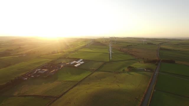 Wind Turbines at Sunset Aerial Video