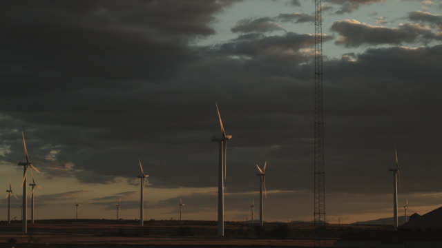 ws wind turbines at sunset time in northern spain / basque country, spain  - spanish basque country stock videos and b-roll footage