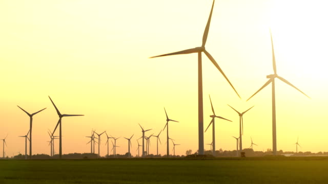 wind turbines at sunset - lighting technique stock videos & royalty-free footage