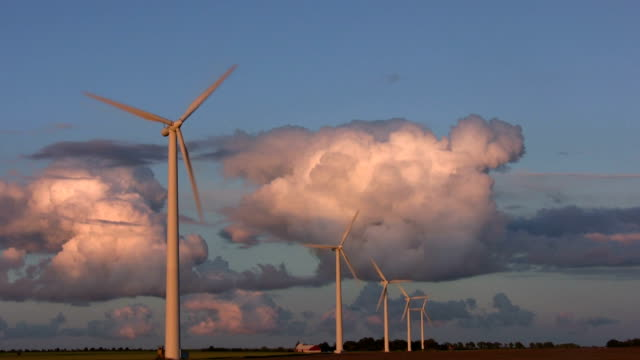 Wind turbines, dramatic sky, Sweden
