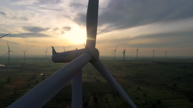 wind turbines farm - energy production with clean and renewable energy - wind power stock videos & royalty-free footage
