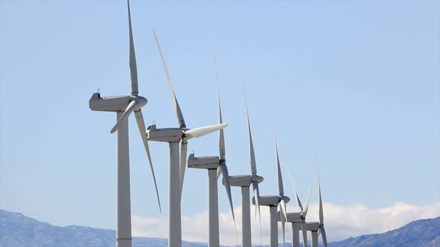 wind turbines - hd video - palm springs california stock videos & royalty-free footage