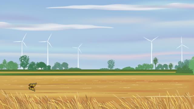 Wind Turbines In a Fall Field