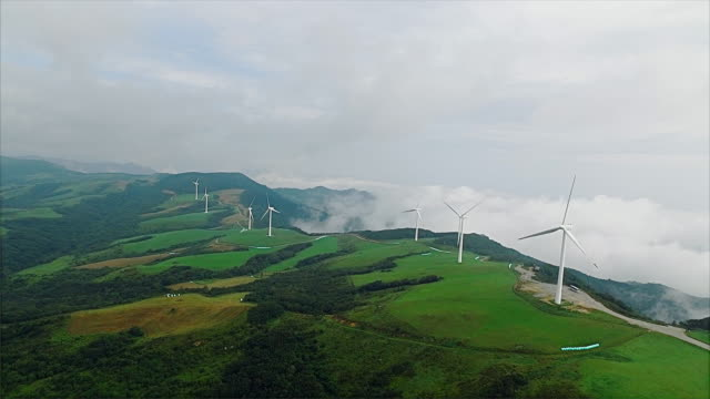 wind turbines in daegwallyeong - pyeongchang stock videos and b-roll footage