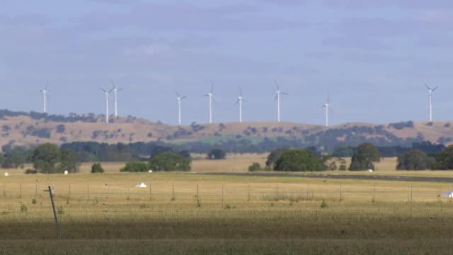 WS of wind turbines in distance / Macarthur, Victoria, Australia