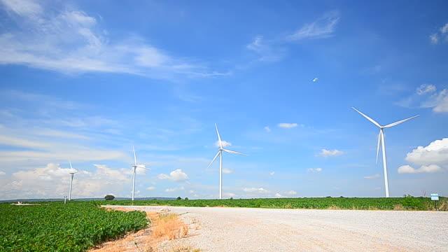 vídeos y material grabado en eventos de stock de turbinas eólicas en los campos con viento cielo y las nubes - full hd format