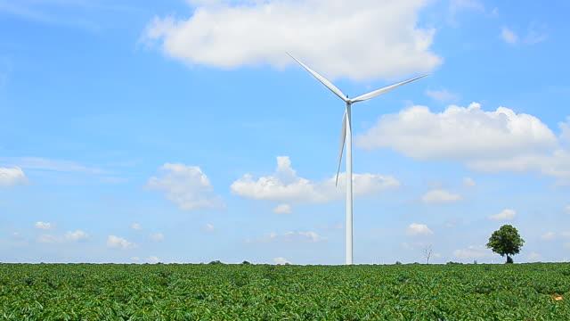stockvideo's en b-roll-footage met wind turbines in fields with windy sky and cloudscape - hd format