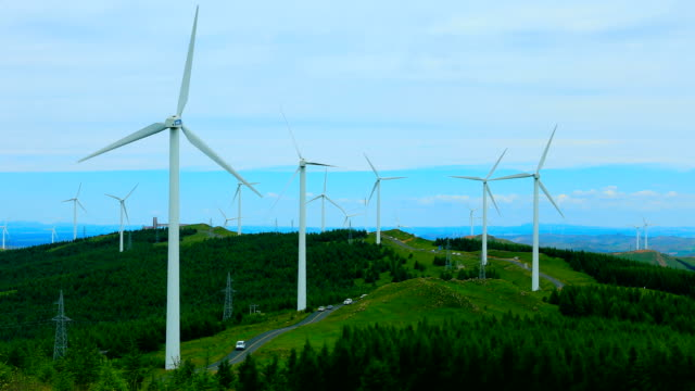 wind turbines in mountain - power in nature stock videos & royalty-free footage