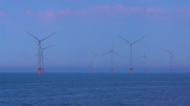 Wind Turbines In North Sea, Redcar, North Yorkshire, England