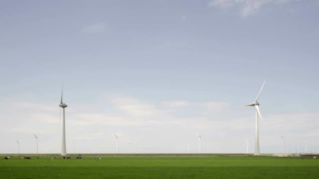 wind turbines in polder - turbine stock videos & royalty-free footage