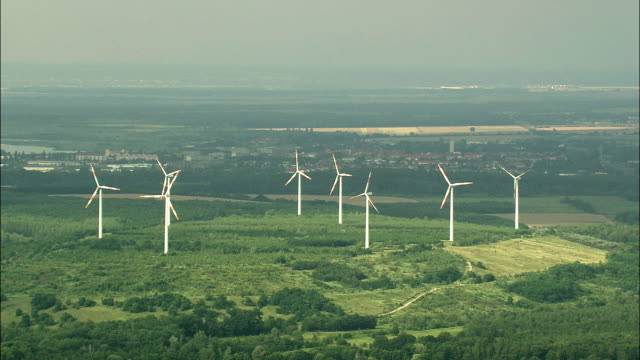aerial wind turbines in rural landscape, saxony, germany - saxony stock videos & royalty-free footage