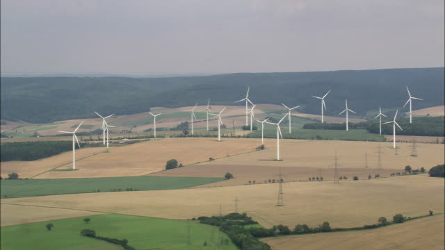 ha zo wind turbines in rural landscape, thuringia, germany - thuringia stock videos & royalty-free footage