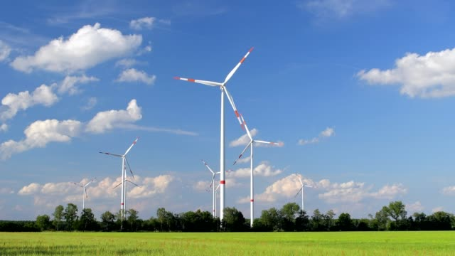 wind turbines in the countryside, brandenburg, germany - brandenburg state stock videos & royalty-free footage