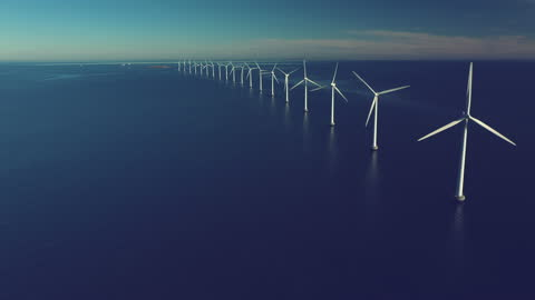 wind turbines in the ocean - seascape stock videos & royalty-free footage