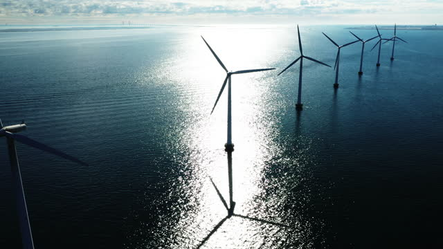 wind turbines in the ocean - responsibility stock videos & royalty-free footage