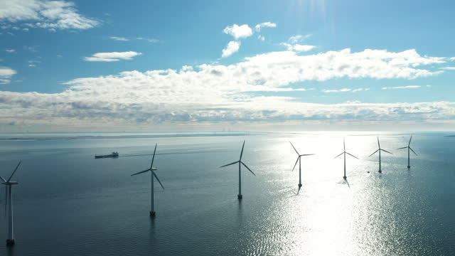 wind turbines in the ocean - coastal feature stock videos & royalty-free footage