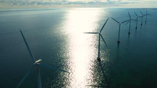 wind turbines in the ocean - generator stock videos & royalty-free footage
