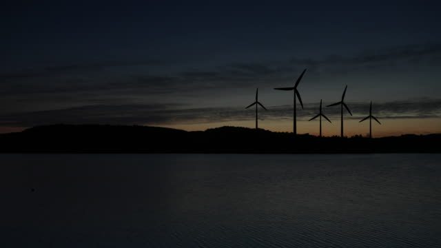 wind turbines landscape sunset - silence stock videos & royalty-free footage