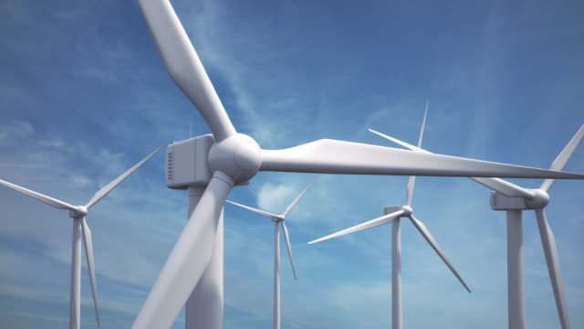 wind turbines | loopable - windmill stock videos & royalty-free footage