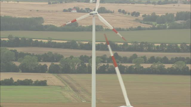 wind turbines near rositz - turingia video stock e b–roll