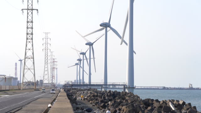 wind turbines of mitsuuroko green energy coltd and cosmo eco power coltd stand in kamisu ibaraki prefecture japan on wednesday april 29 2020 - japan bloomberg stock videos & royalty-free footage