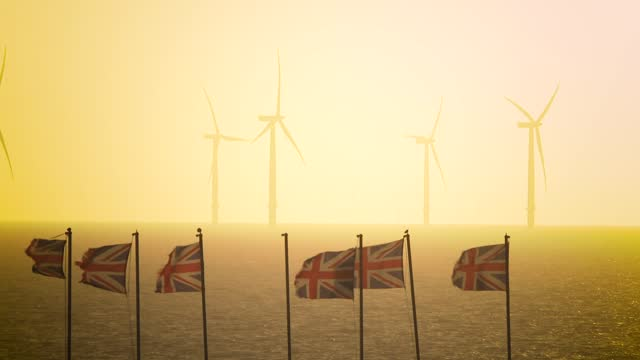 wind turbines off the coast on november 18, 2020 in clacton-on-sea, england. wind energy features prominently in prime minister boris johnson's plan... - industrial equipment stock videos & royalty-free footage