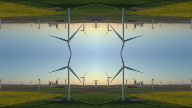 wind turbines on a field - kaleidoscope effect - film composite stock videos & royalty-free footage