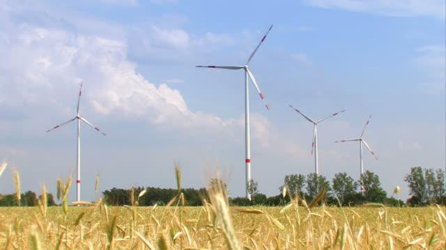 turbine eoliche su un campo - girandola video stock e b–roll
