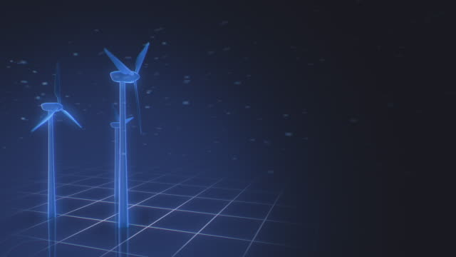 wind turbines on a futuristic grid interface - three objects stock videos & royalty-free footage
