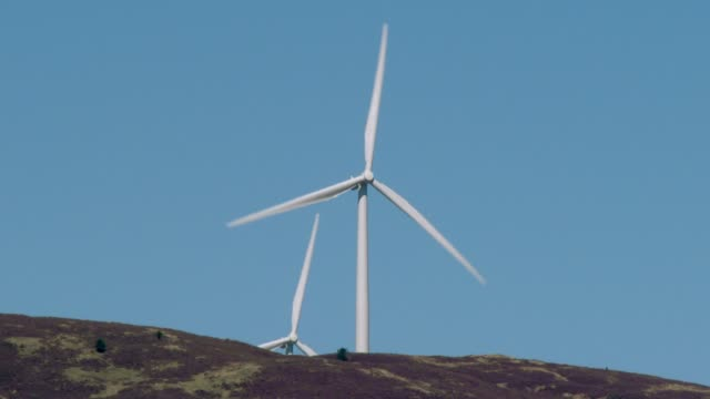 wind turbines on a scottish hillside - galloway scotland stock videos & royalty-free footage