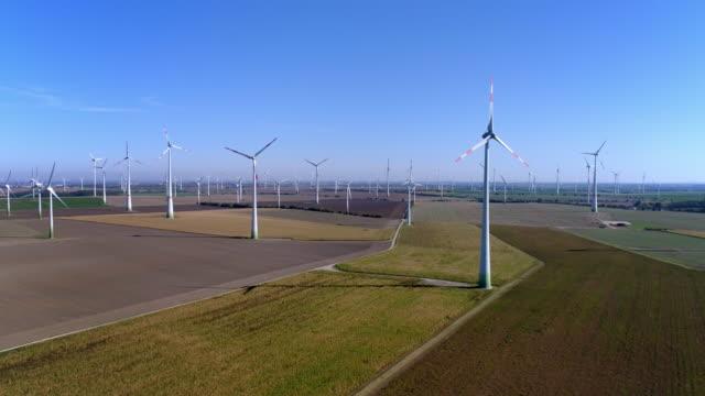 vídeos de stock e filmes b-roll de wind turbines on farmland in the autumn - grupo de objetos
