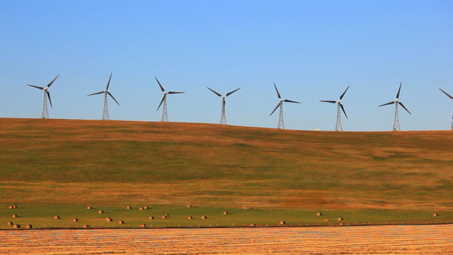 wind turbines on hilltop - alberta stock videos & royalty-free footage