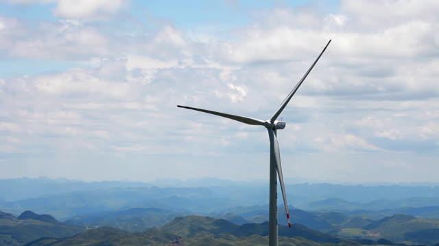 wind turbines on mountain,guizhou,china. - human settlement stock videos & royalty-free footage
